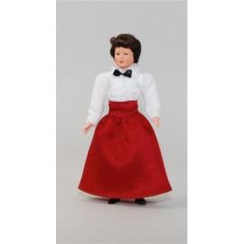 Moteris su raudonu sijonu
