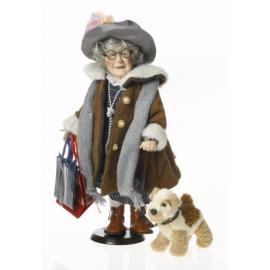 Porcelianinė lėlė su šuniuku