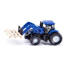Traktorius su šakiniu krautuvu ir palete