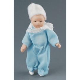 Kūdikis melsvais drabužėliais