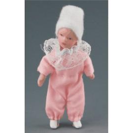 Kūdikis rožiniais drabužėliais