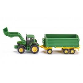 John Deere traktorius su krautuvu ir priekaba
