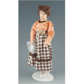 Woman in plaid skirt