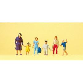 Women walking with children