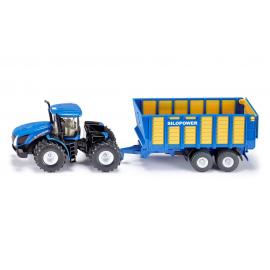 New Holland traktorius su siloso priekaba