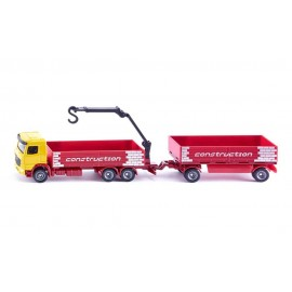 Truck for construction material with trailer