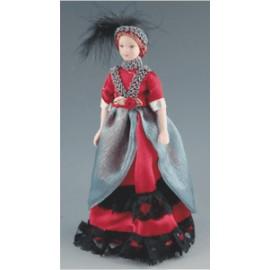 Ponia raudona suknele